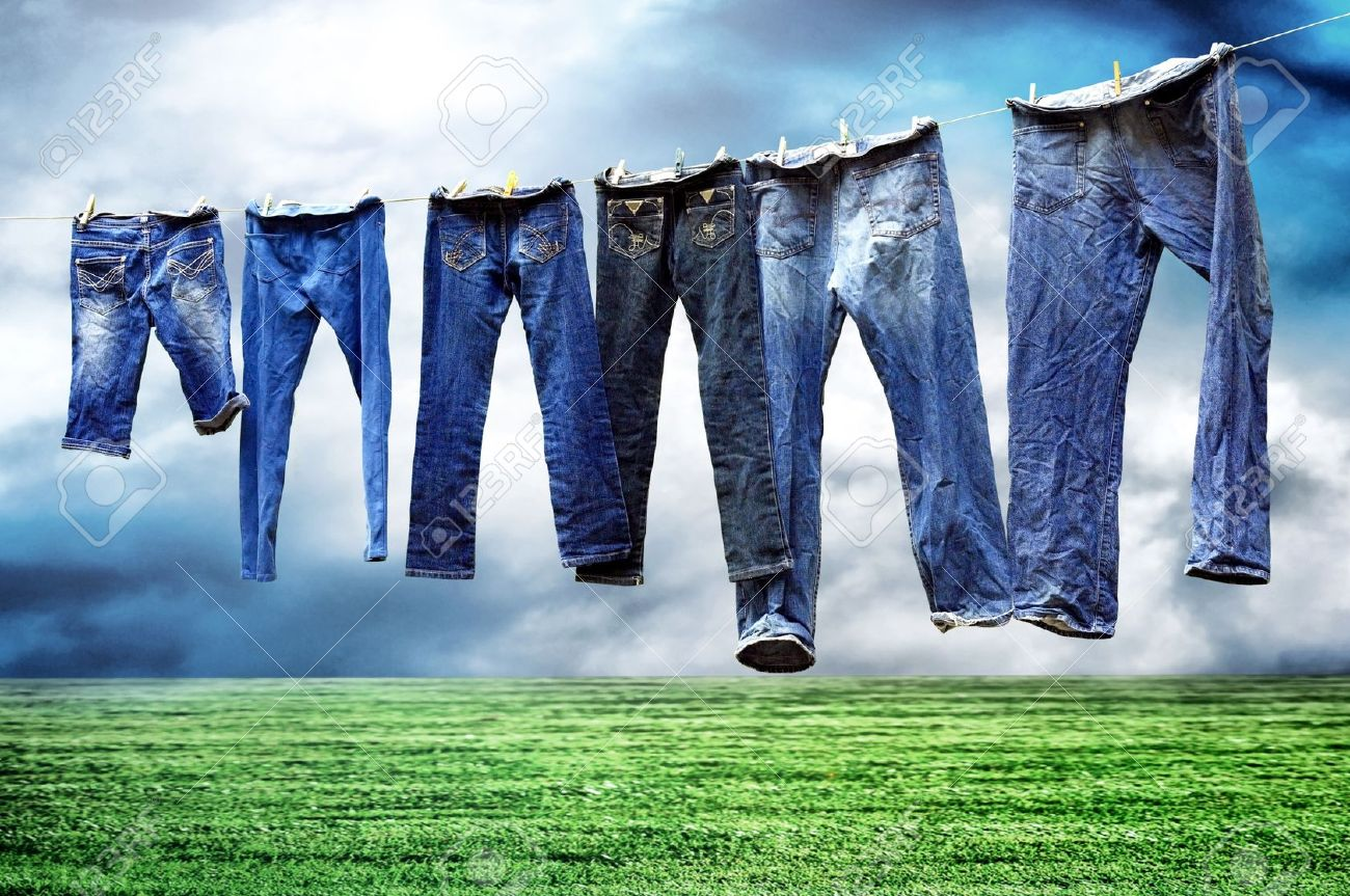 Jeans on a clothesline to dry Stock Photo - 8702589