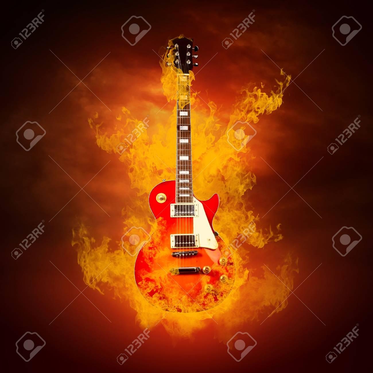 Rock guita in flames of fire Stock Photo - 9648728