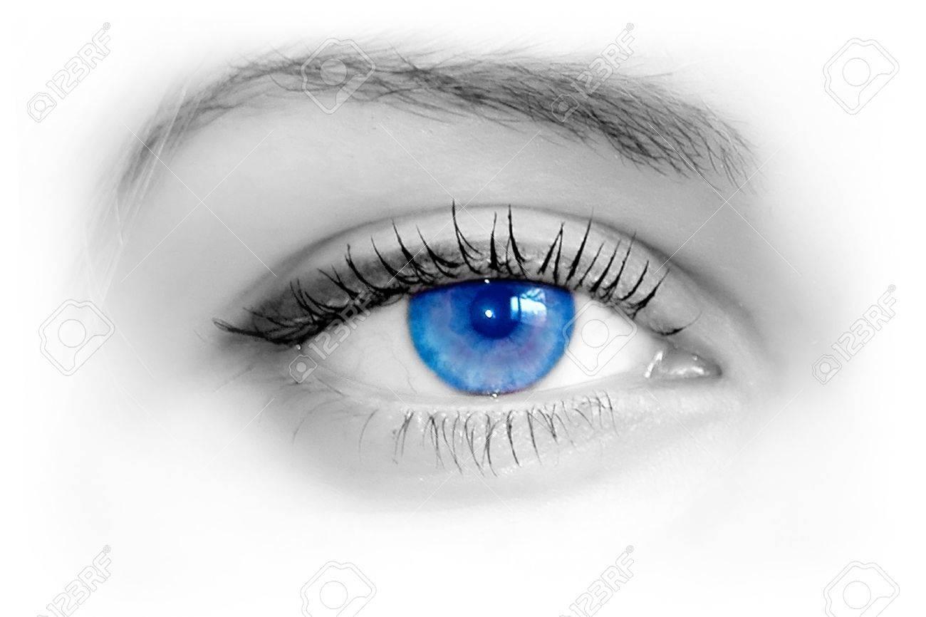 Beautiful female blue eye. Macro shooting Stock Photo - 9970860