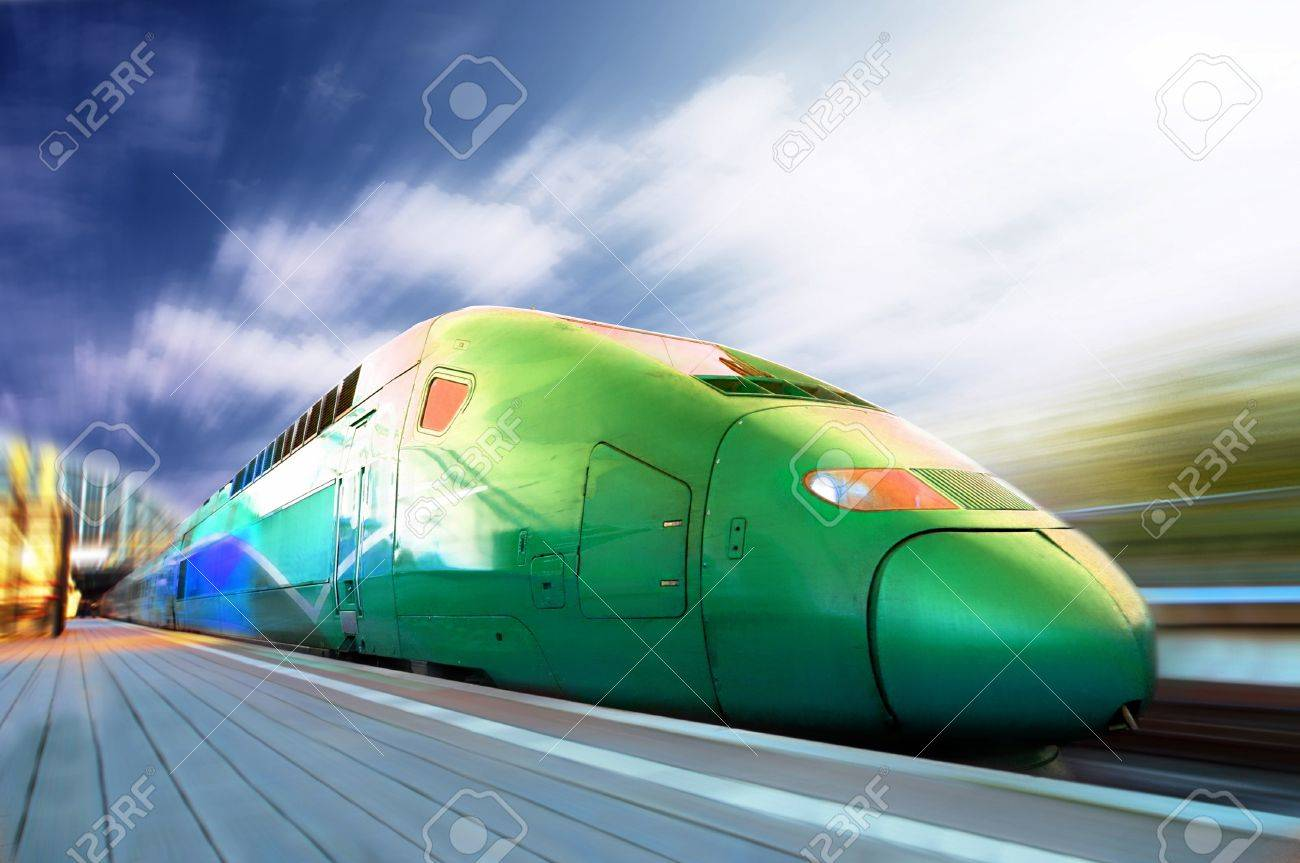 High-speed train with motion blur outdoor Stock Photo - 10278391