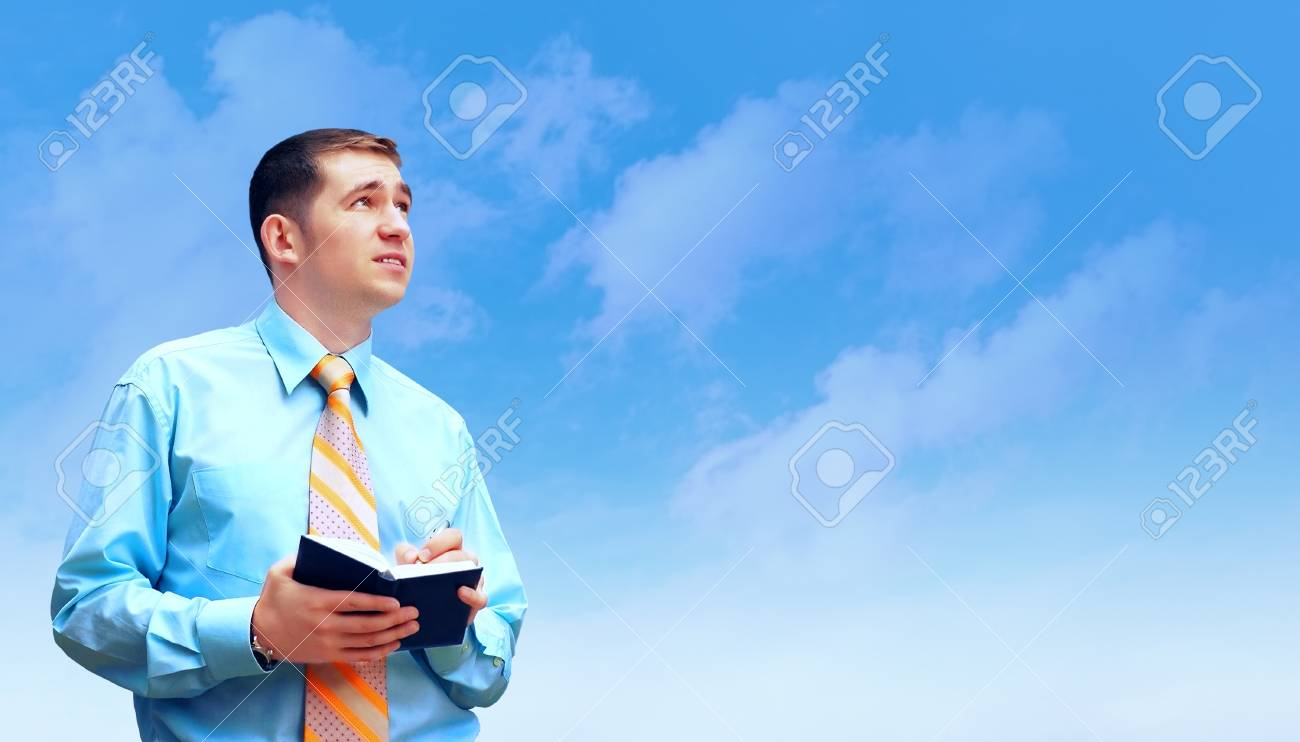 Hasppiness businessman under blue sky with clouds Stock Photo - 11544752