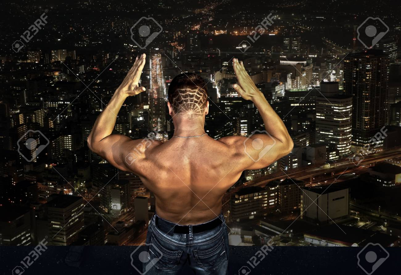 Man stay on the roof of skyscraper Stock Photo - 16637700