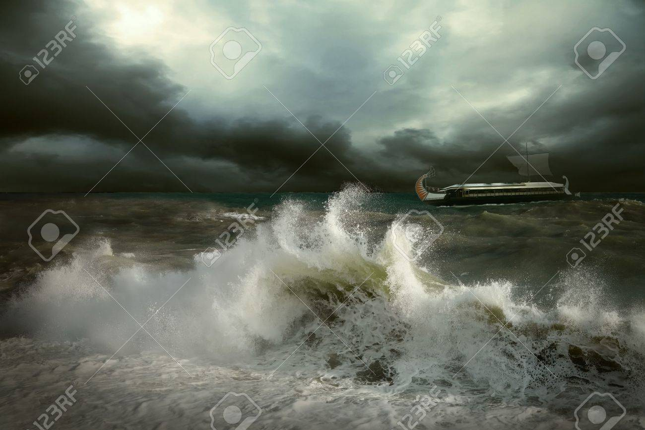 View of storm seascape with historical ship Stock Photo - 17223710