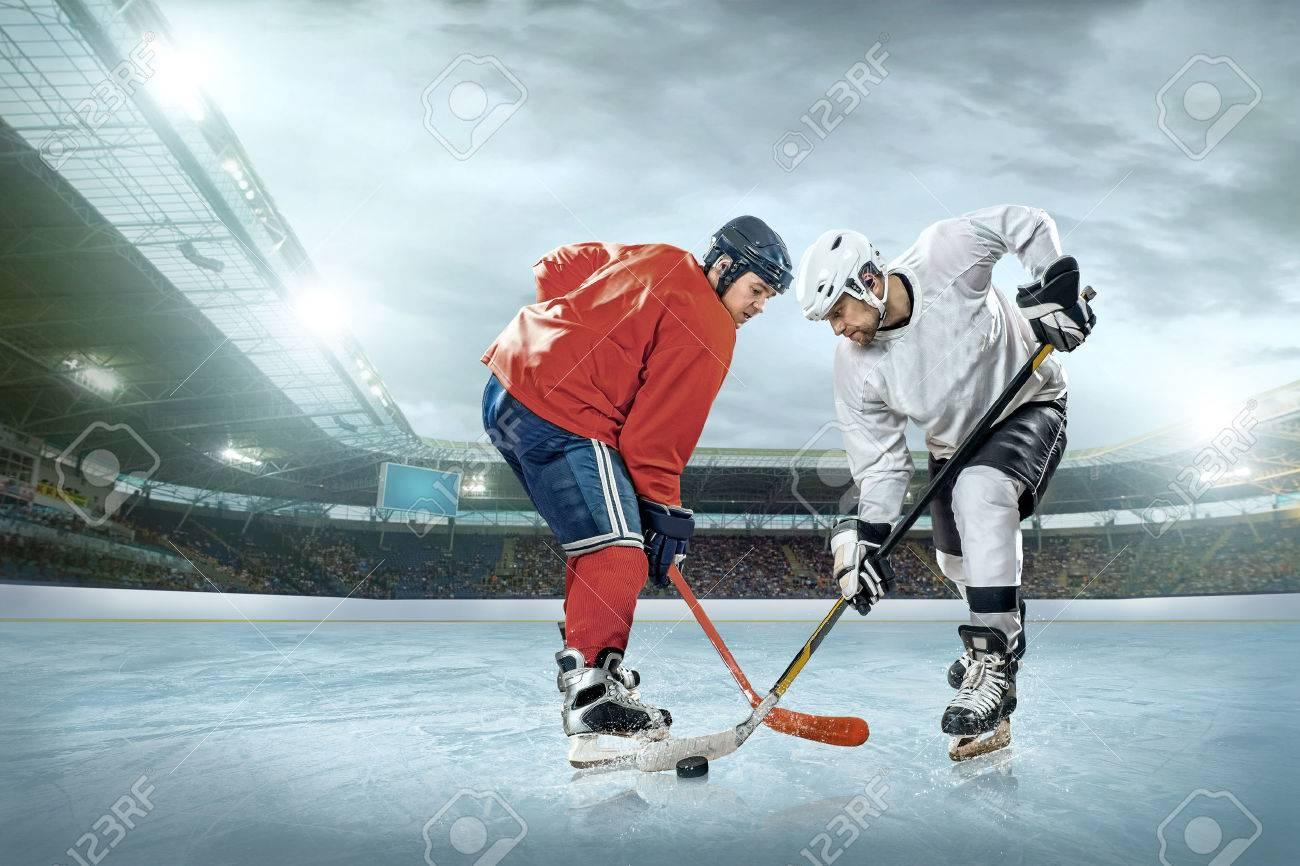 ice hockey player on the ice open stadium winter classic game ice hockey player on the ice open stadium winter classic game stock photo