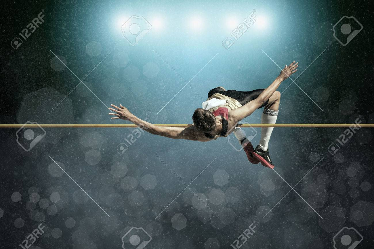 Athlete in action of high jump. - 43440942
