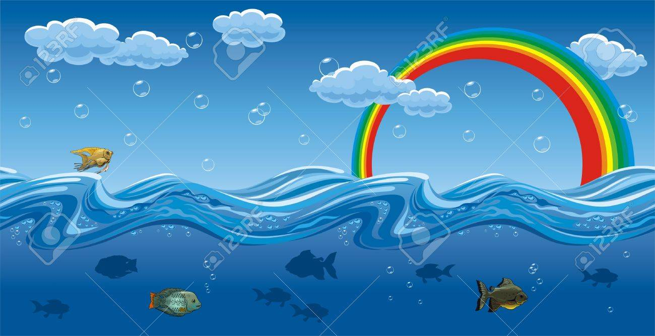 Horizontal seamless illustration of the water waves, fish, rainbows and sky with cloud. Stock Vector - 7156611