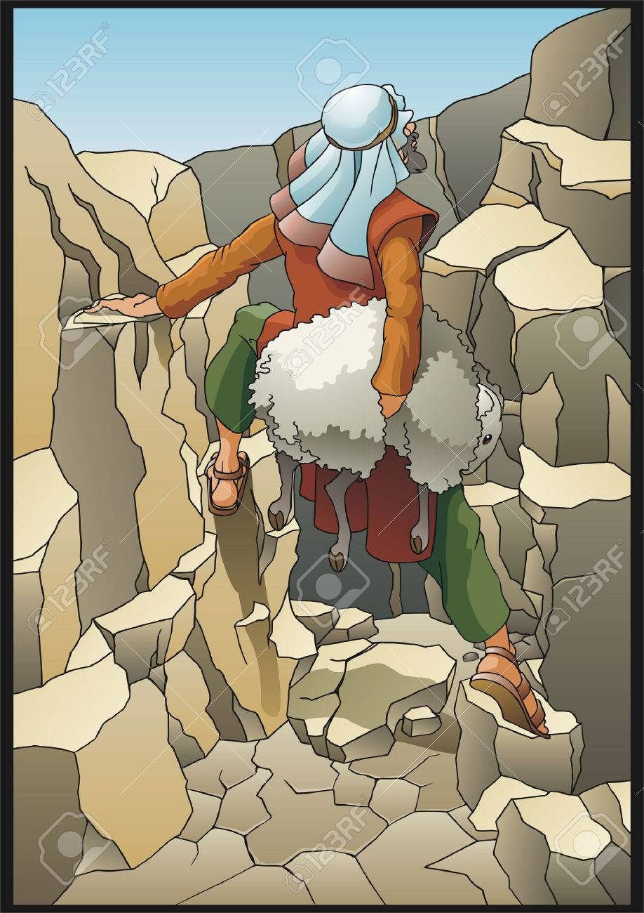 The shepherd rescues the lost sheep Stock Vector - 13089671