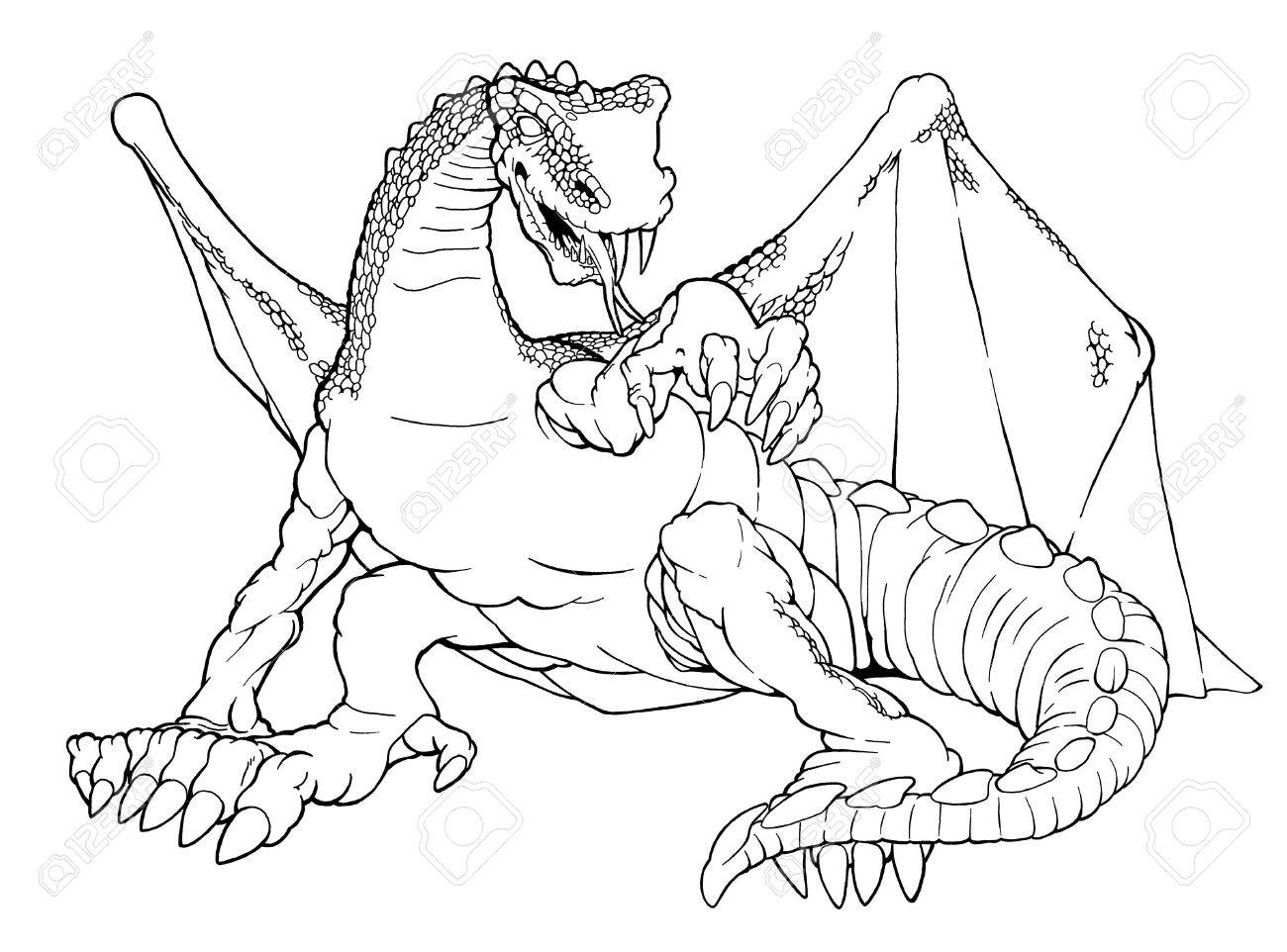 cartoon outline illustration of a winged dragon stock photo