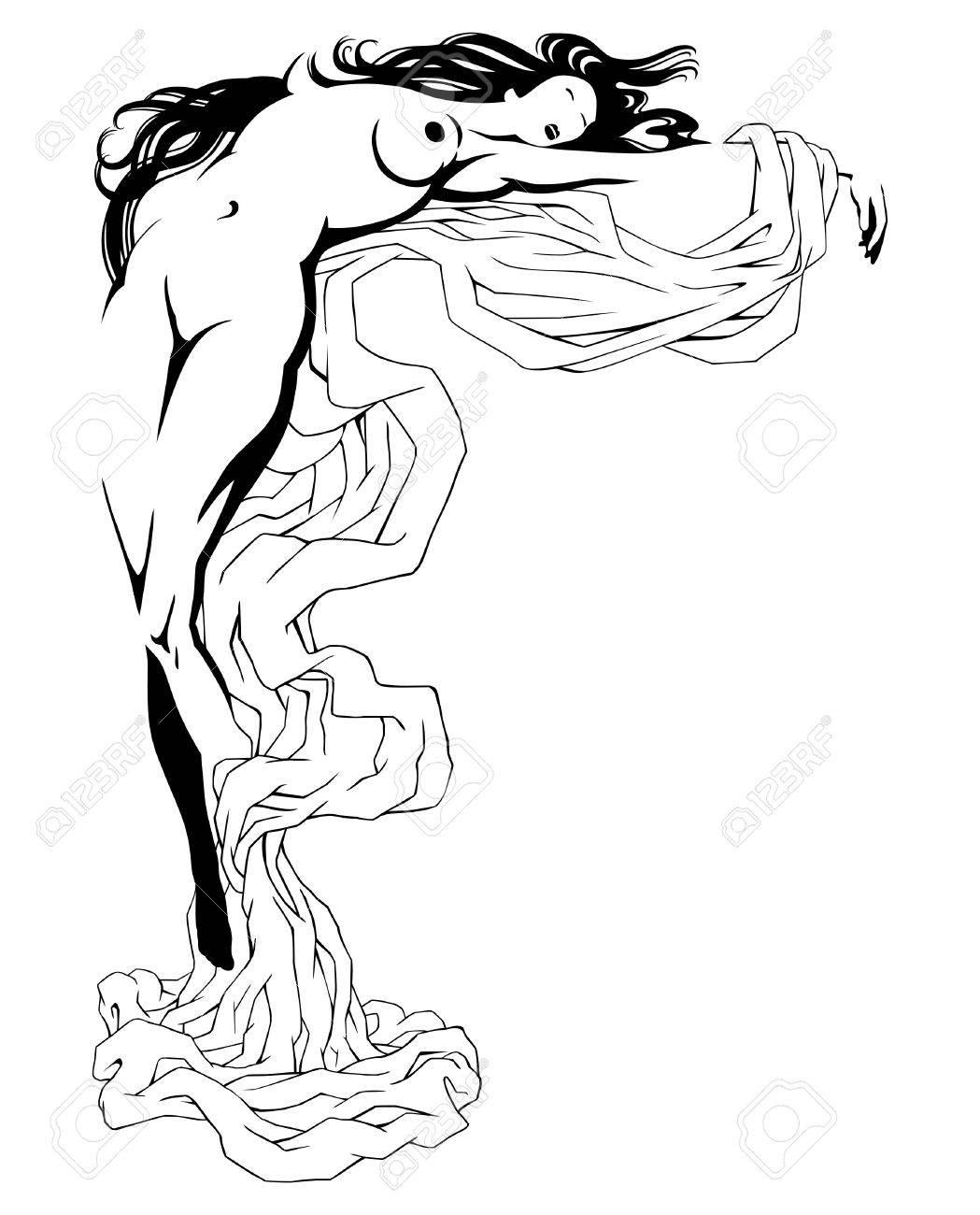 エロティックなポーズの女の子を寝て輪郭で描画されますのイラスト
