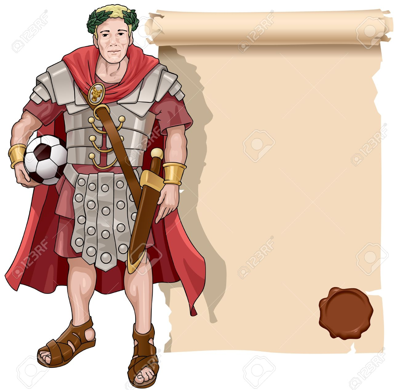 Vector illustration of the roman soldier with a football and background a scroll. Stock Vector - 9817421