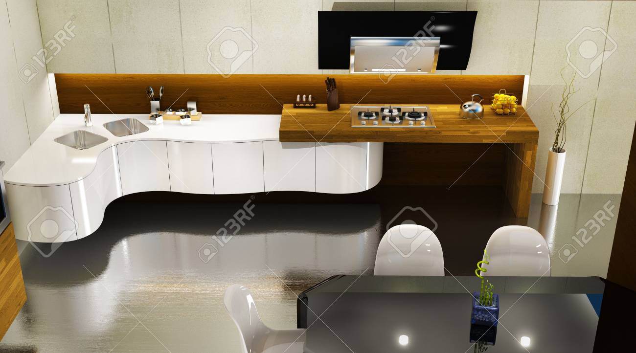Modern kitchen interior, 3D render Stock Photo - 6270810
