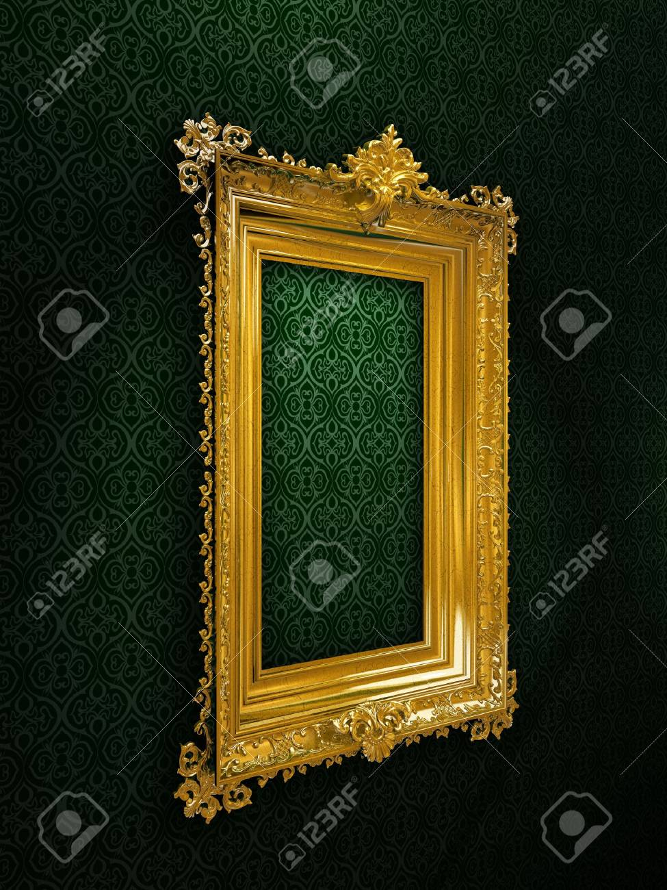 501cbb99395 Gold plated and richly decorated frame on a wall Stock Photo - 6341322