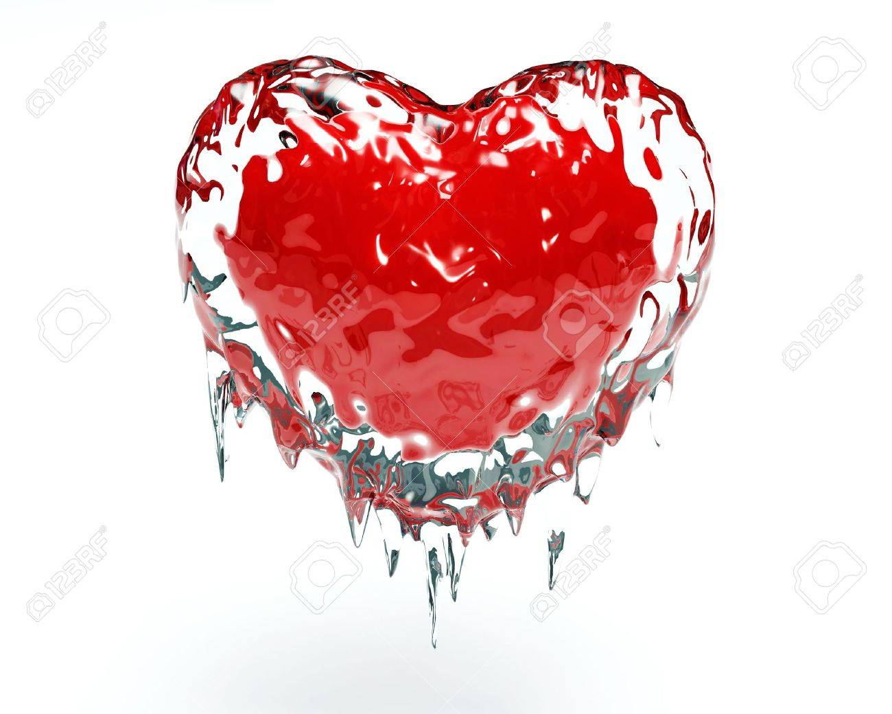Red hot red heart in cold ice Stock Photo - 6699060