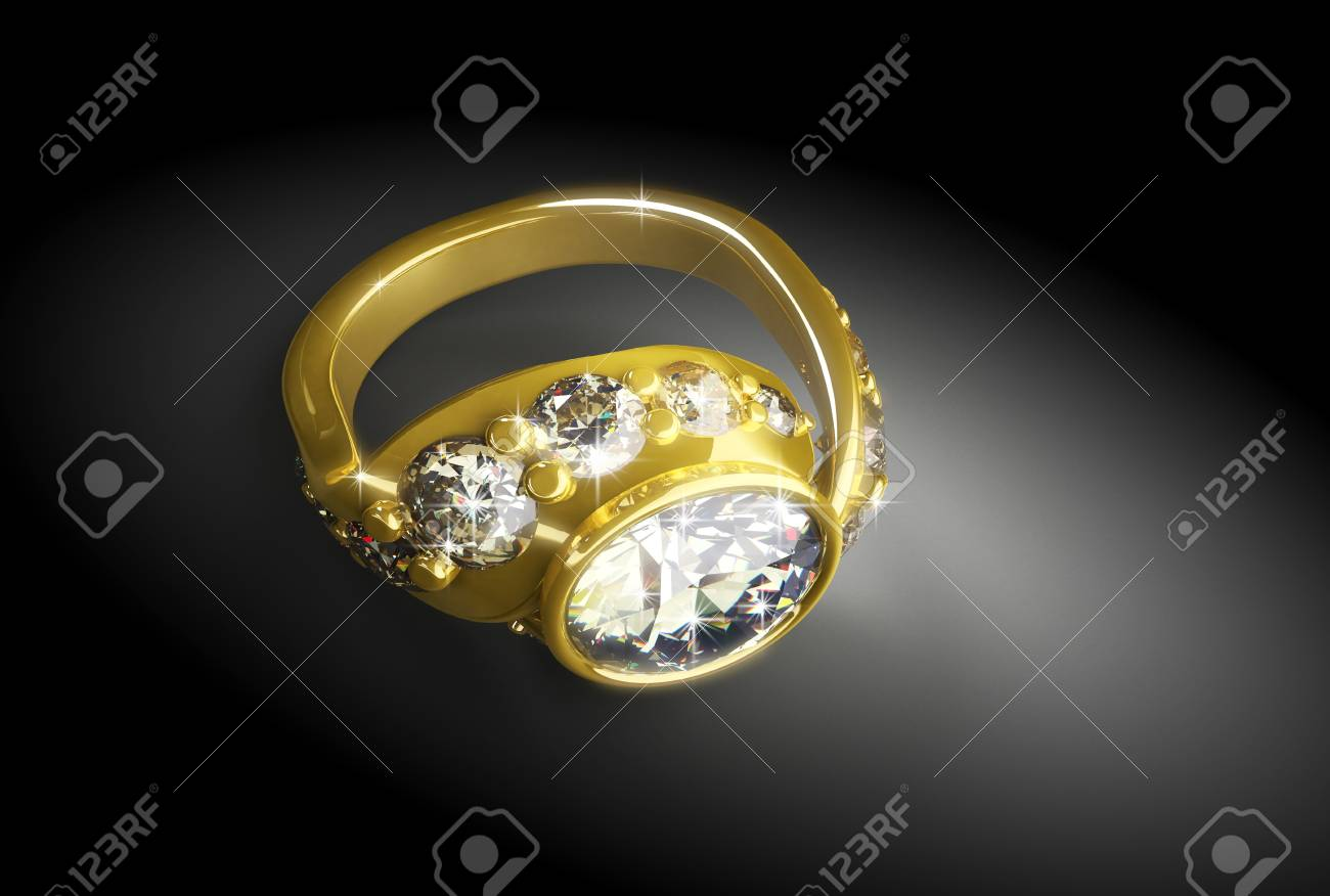 gold ring with a diamond on a black background Stock Photo - 11879867