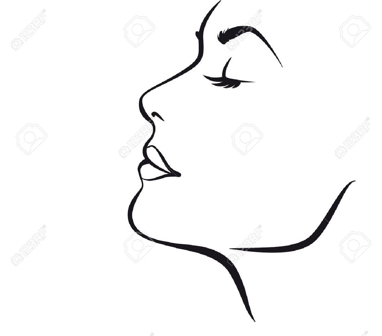 Beauty Girl Face Vector Illustratio Stock