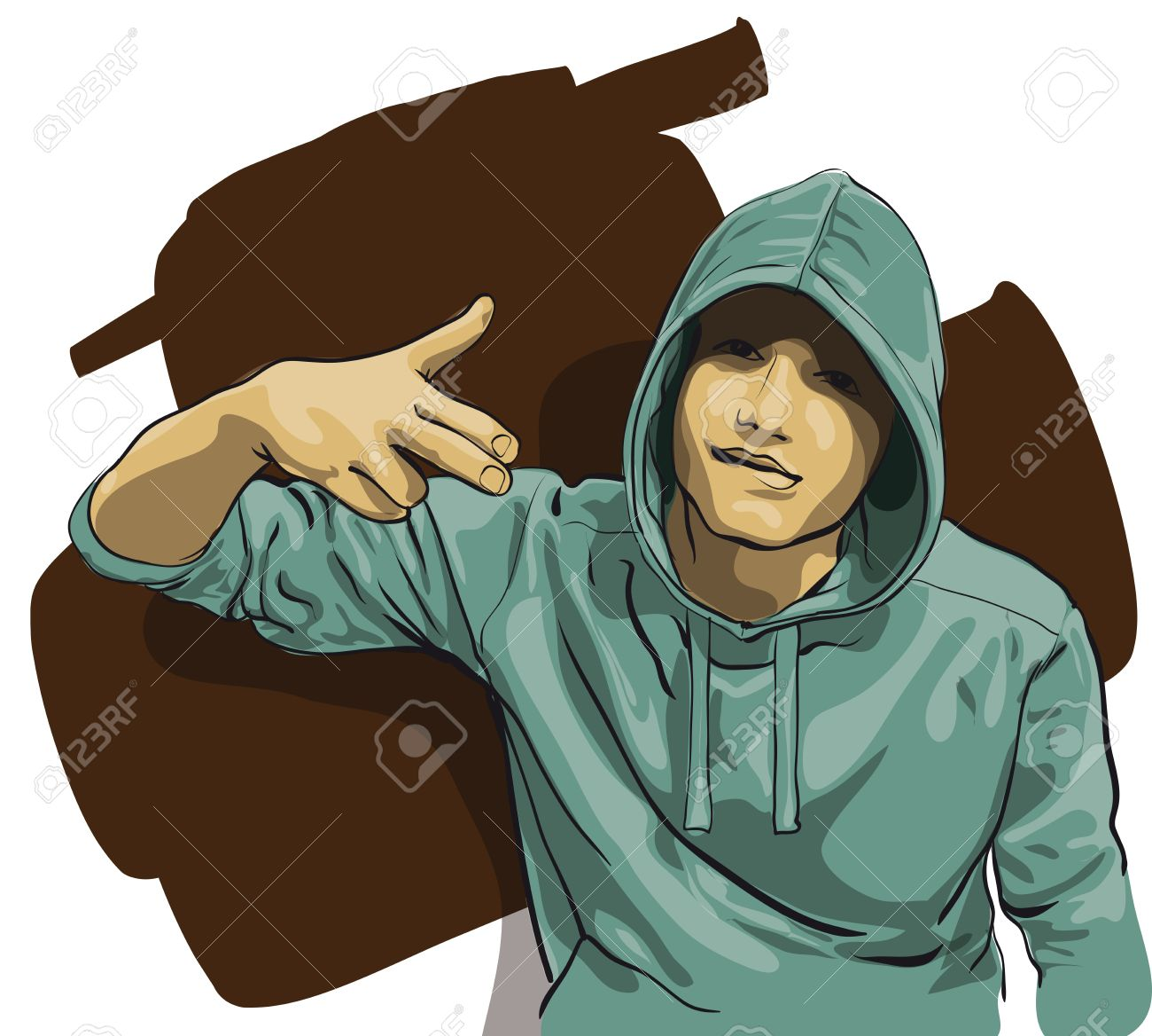some guy with a face covered by a hood   Vector Illustratio Stock Vector - 12484403