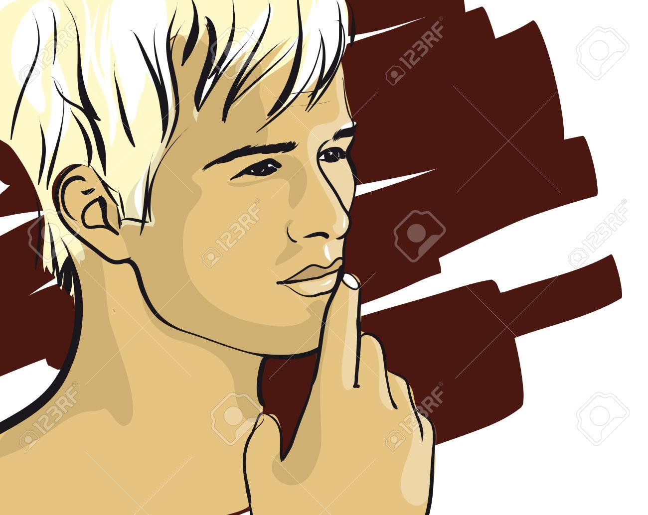 pensive face of a man  Vector Illustratio Stock Vector - 12484413