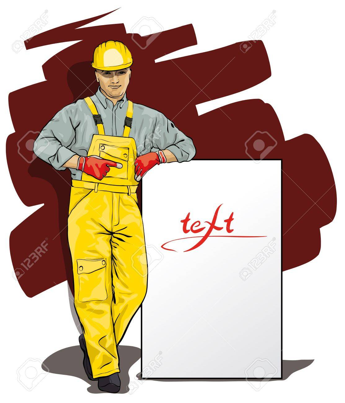 a man working in special protective clothing and helmet (Vector Illustratio) Stock Vector - 12484436