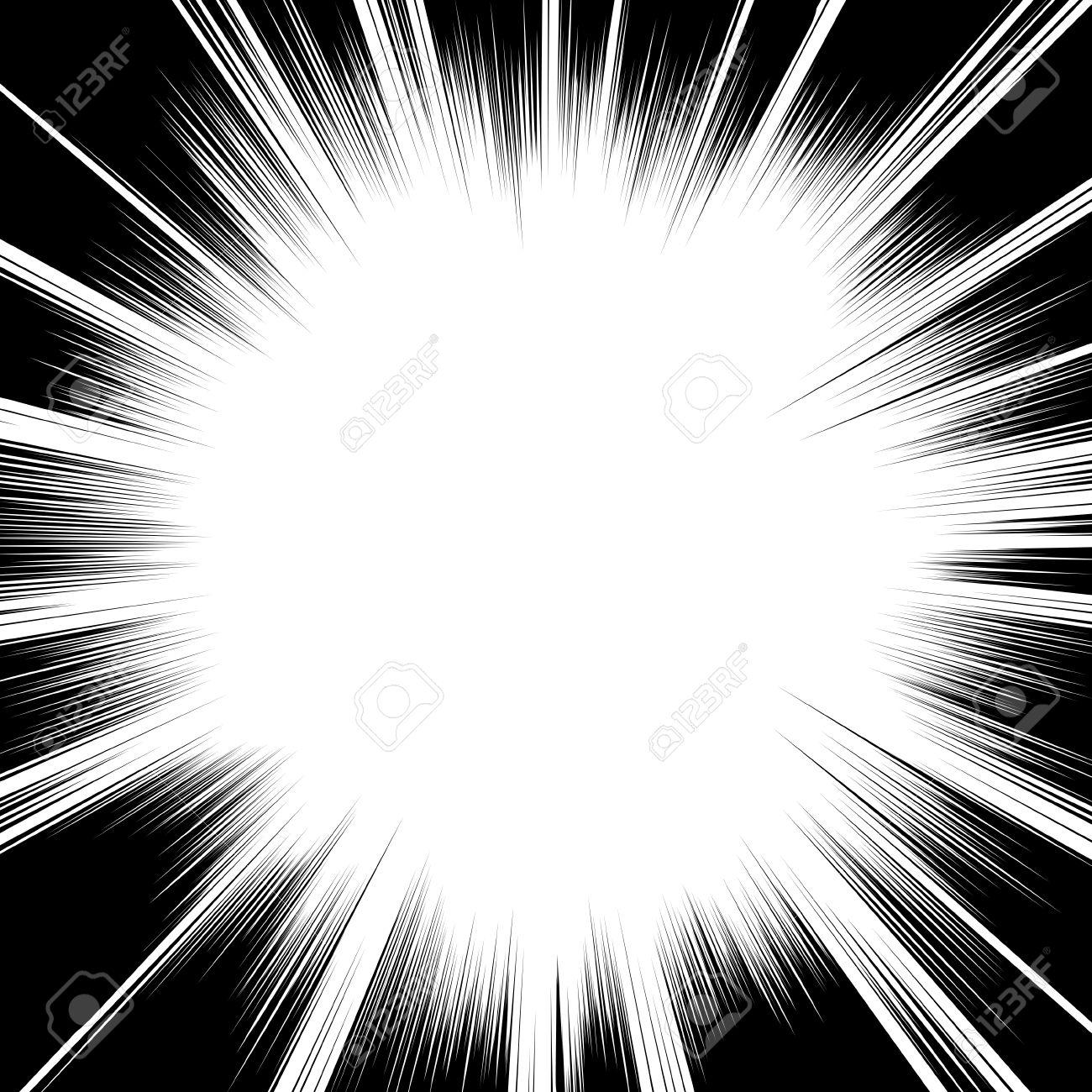 Vettoriale Comic Book Linee Radiali Sfondo Bianco E Nero Piazza