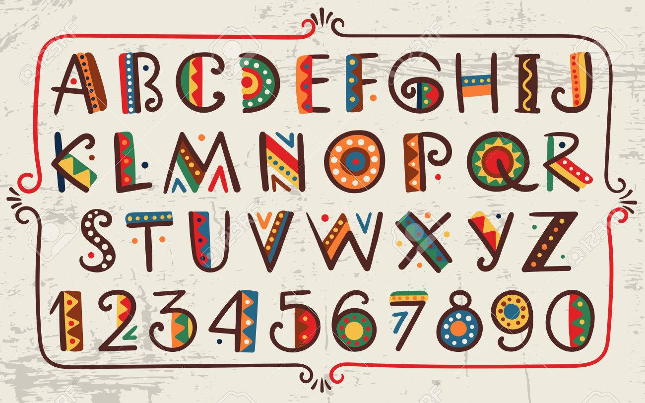 Tribal ethnic bright alphabet and number Hand drawn graphic font in african or indian style Primitive simple stylized design - 54334768
