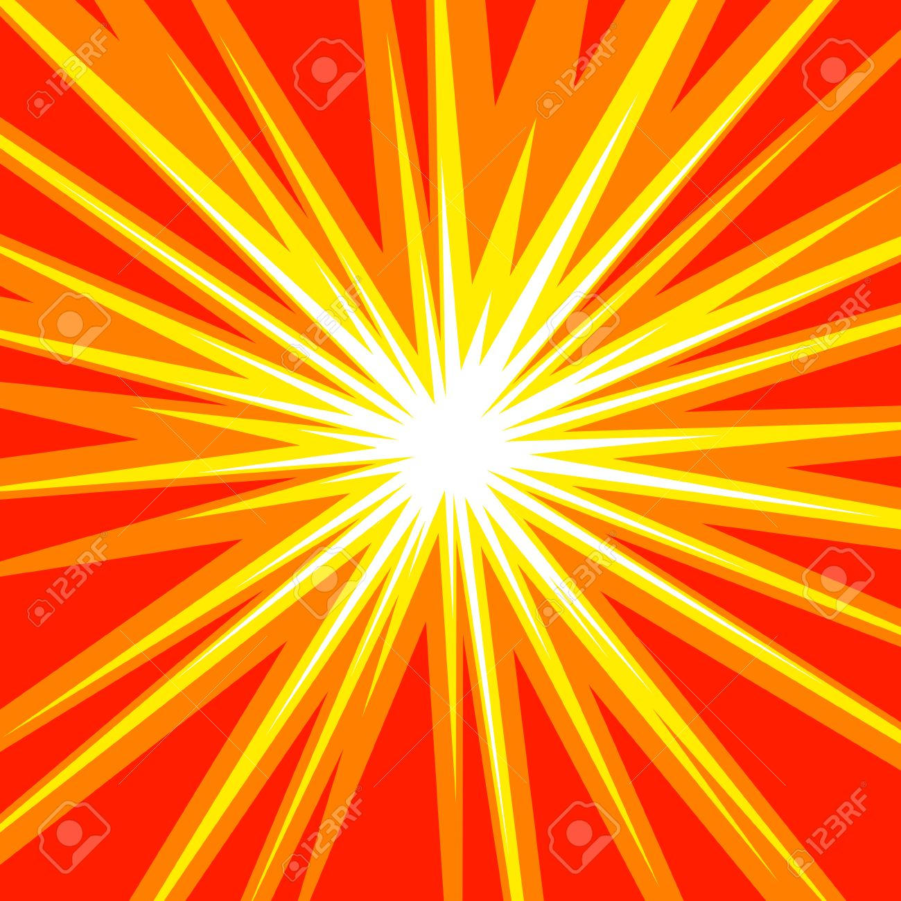 Sun Rays Or Star Burst Element Square Fight Stamp For Card Comic Red