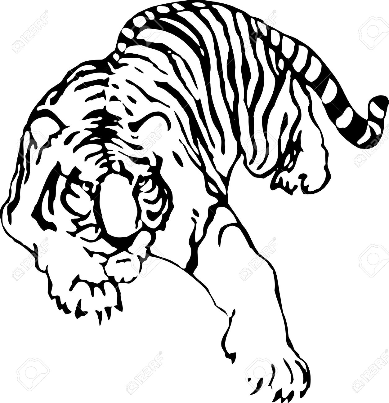 the vector sketch of a tattoo of tiger royalty free cliparts