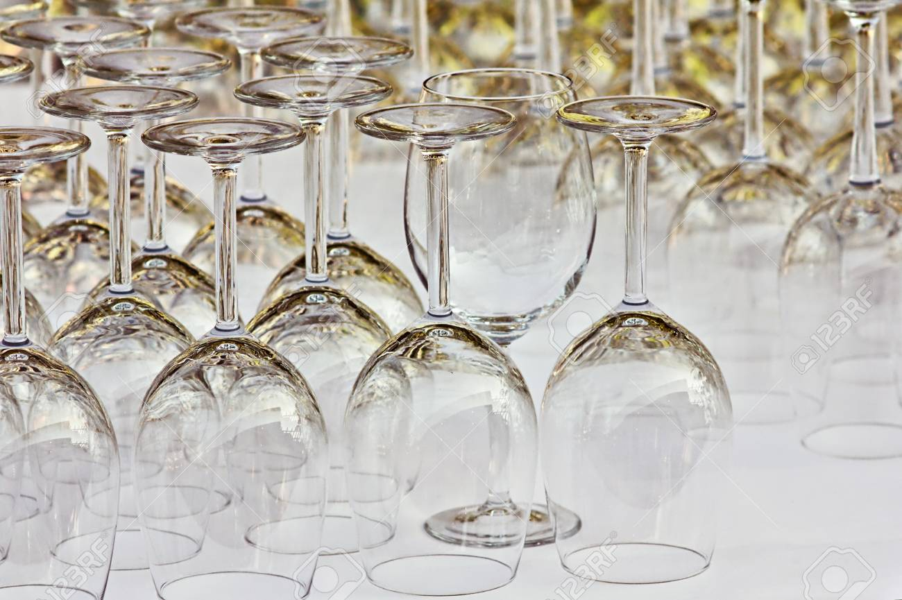Many glasses ready for a dinner in restaurant Stock Photo - 18446697