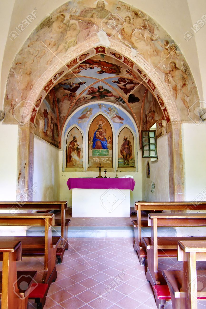 Interior Of A Small Country Church In The Woods Near Osoppo Italy Stock Photo
