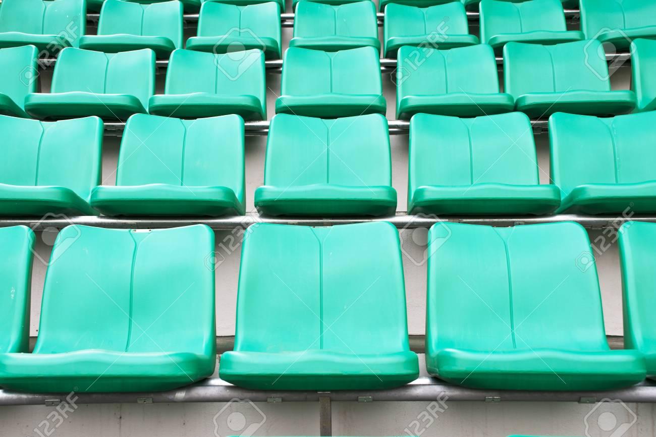 plastic green chairs in stadium Stock Photo - 11387022