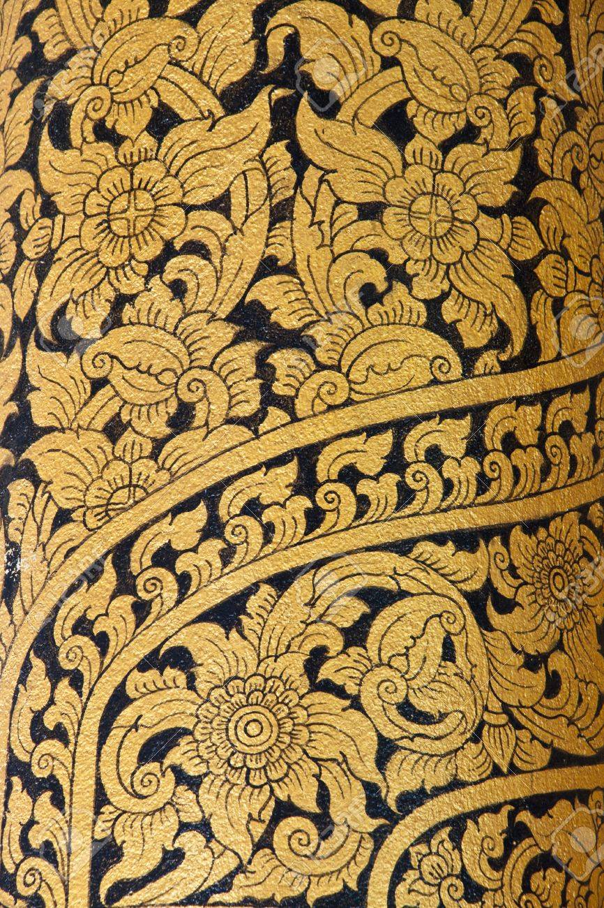 Thai Art Wall Pattern In Temple Of Thailand.The Temple Is Open ...