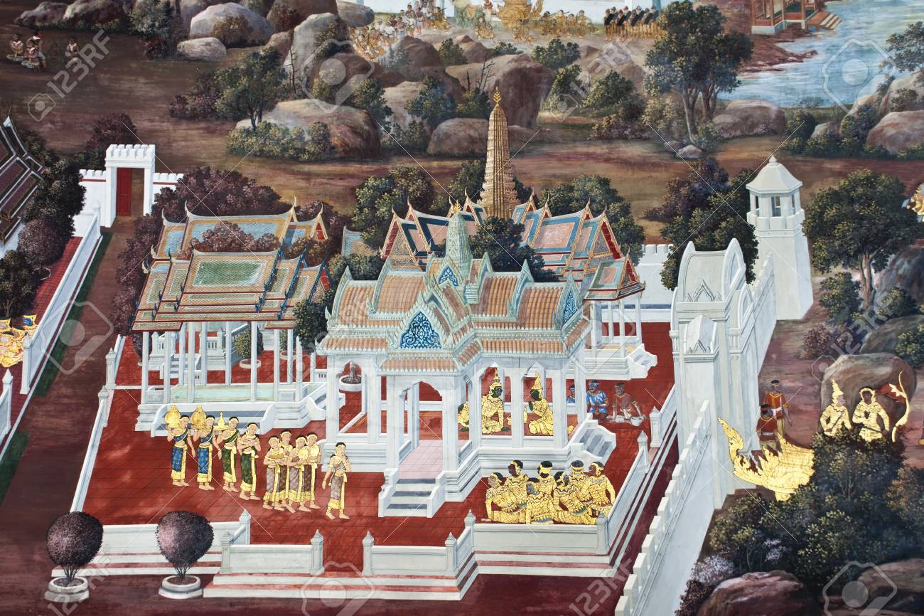 Vintage traditional Thai style art painting on temple for background. The temple is open to the public domain and has beautiful murals on the walls. Stock Photo - 11414471