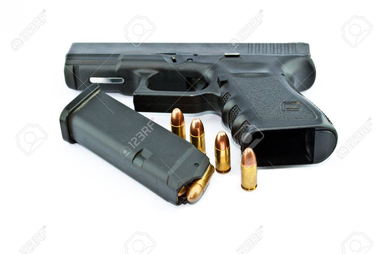 9-mm handgun automatic on white background Stock Photo - 14763878