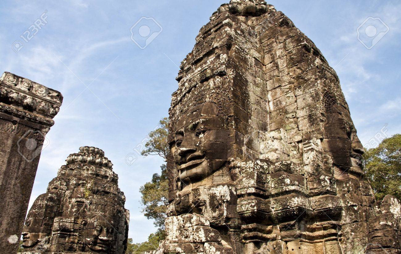 Faces of bayon temple angkor wat stone carvings of faces cambodia