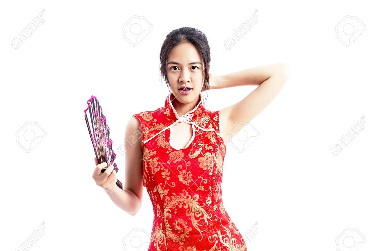 e6130534253a Archivio Fotografico - Cinese donna vestito rosso cheongsam tradizionale