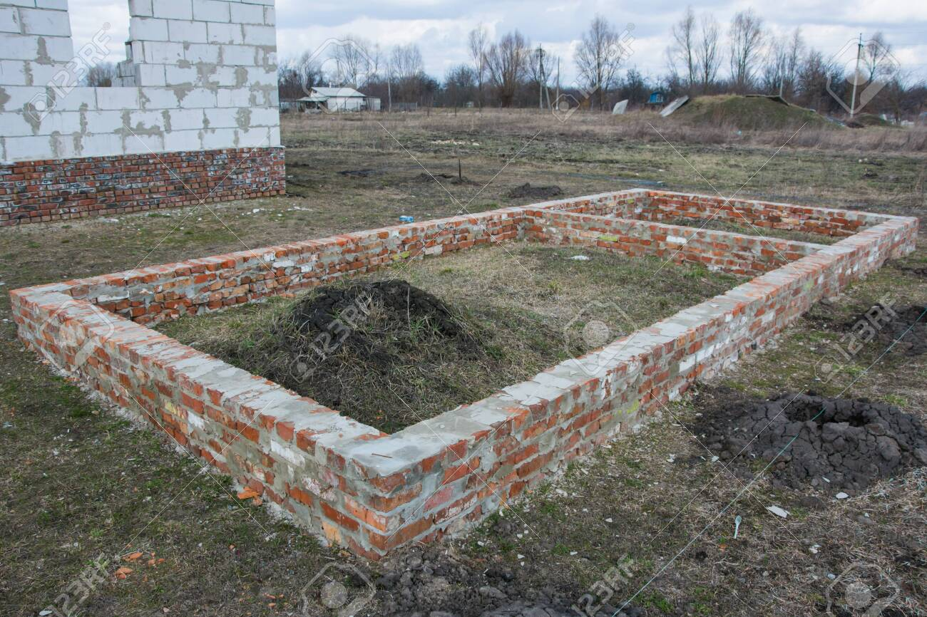Building Brick Foundation Of New House Construction On Ground Stock Photo Picture And Royalty Free Image Image 123714079