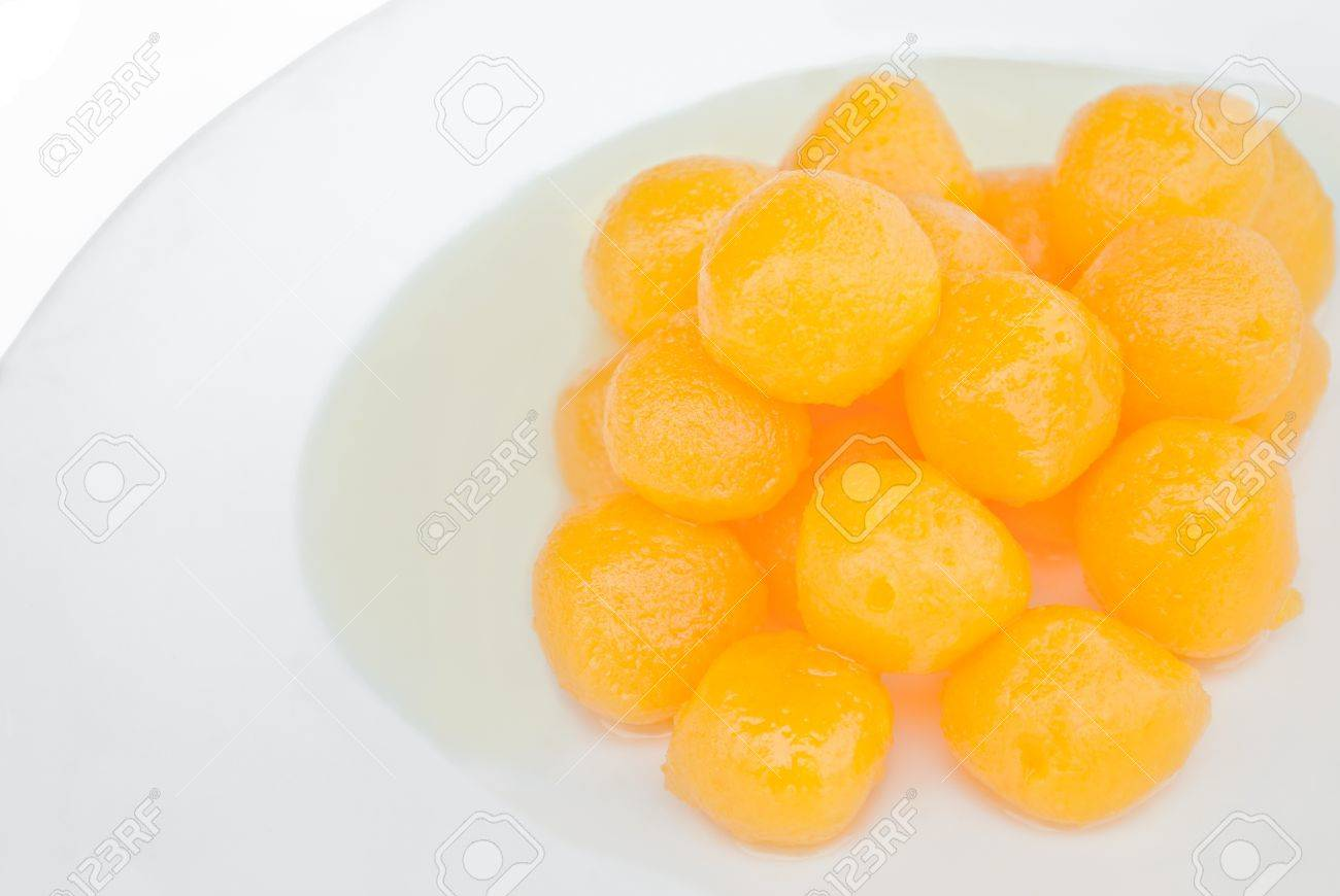 Thai dessert is name Thong Yhod or Gold Egg Yolks Drops. Stock Photo - 10032145