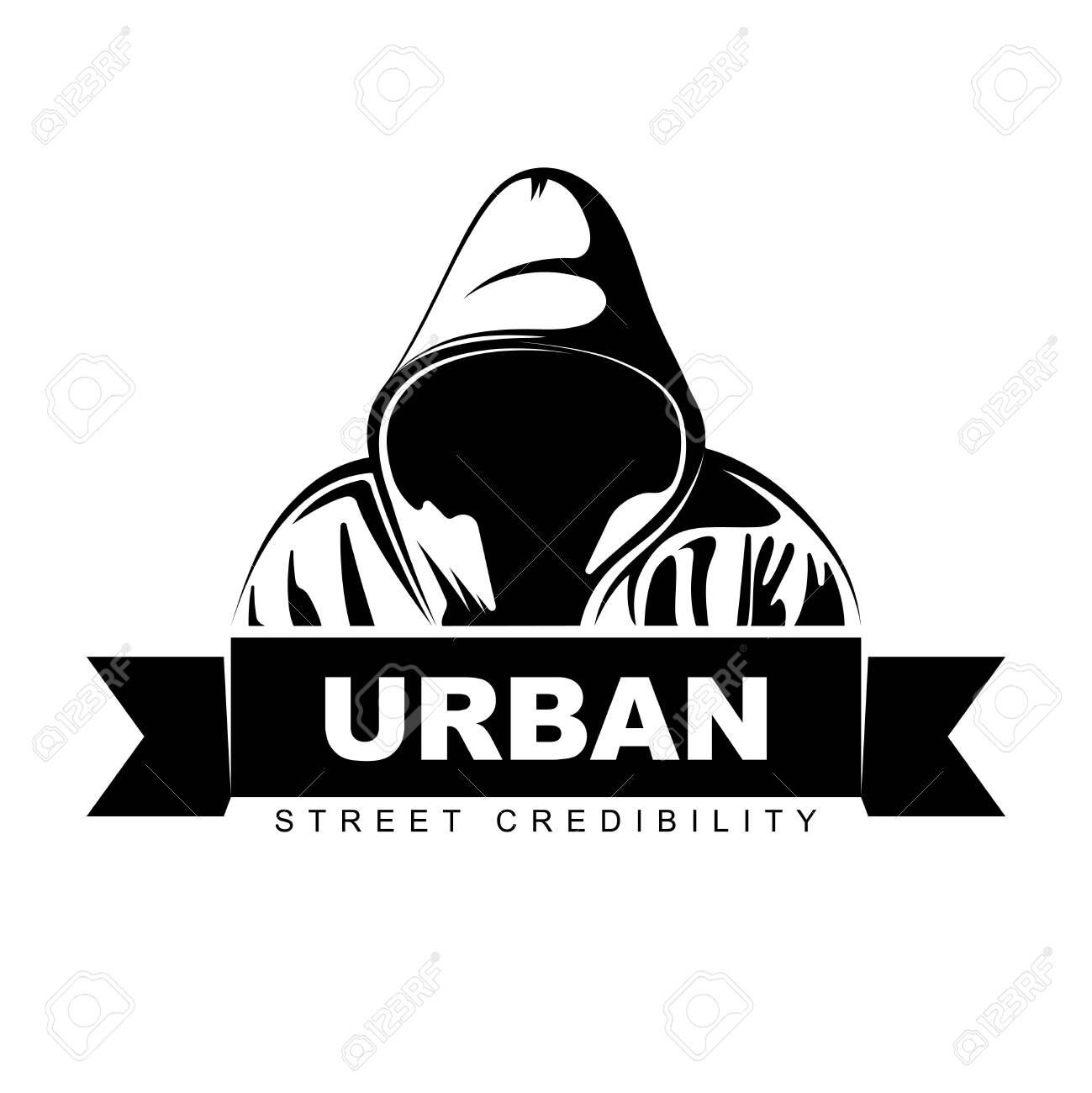 Man In Hoodie Hooded Man Logo Design Urban Street Art Vector