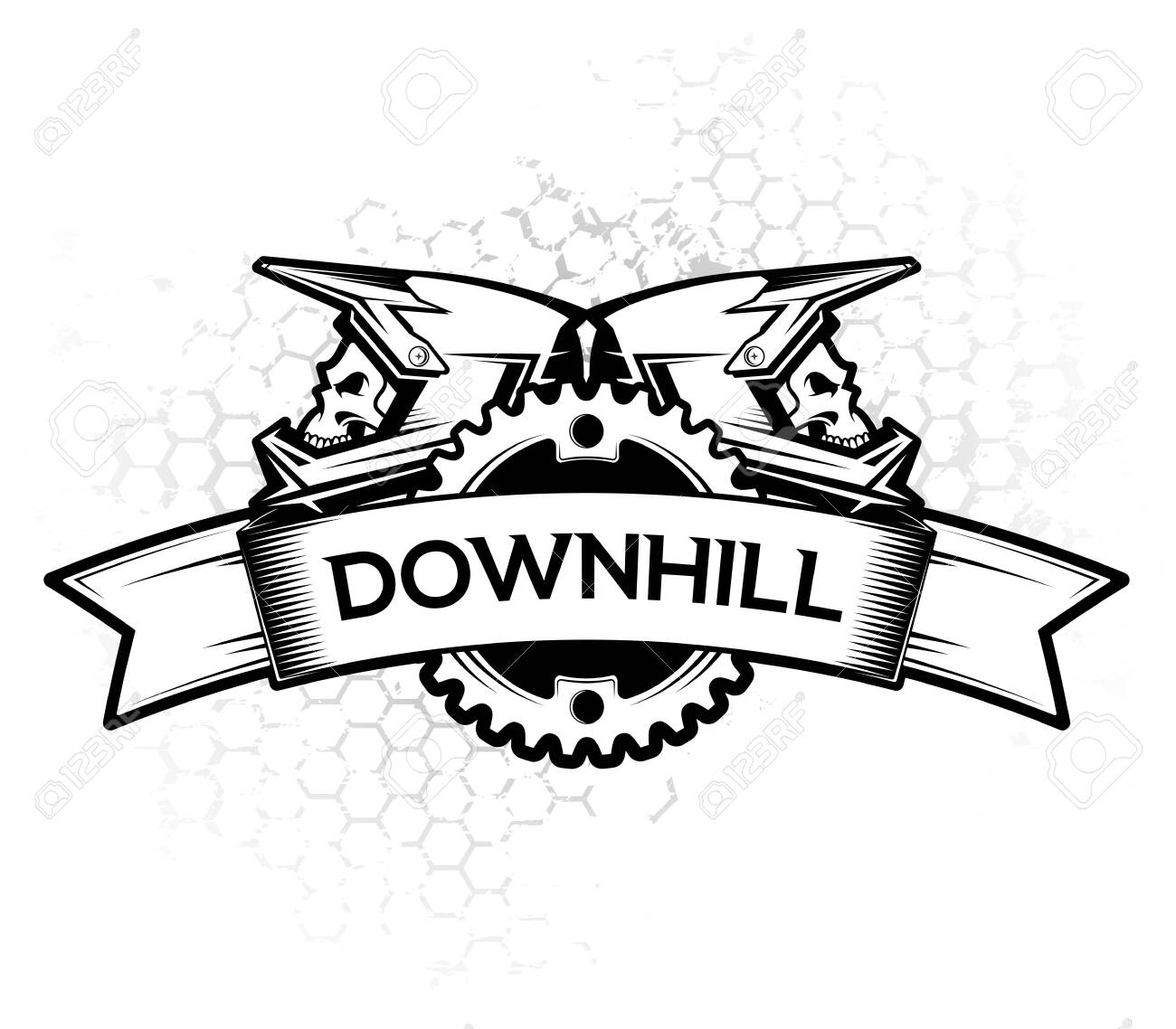 Logo design with ribbon chain ring and full face helmets. Downhill Motocros Label Design. Downhill, Freeride, Enduro, MTB. Vector Ilustration. - 133535236