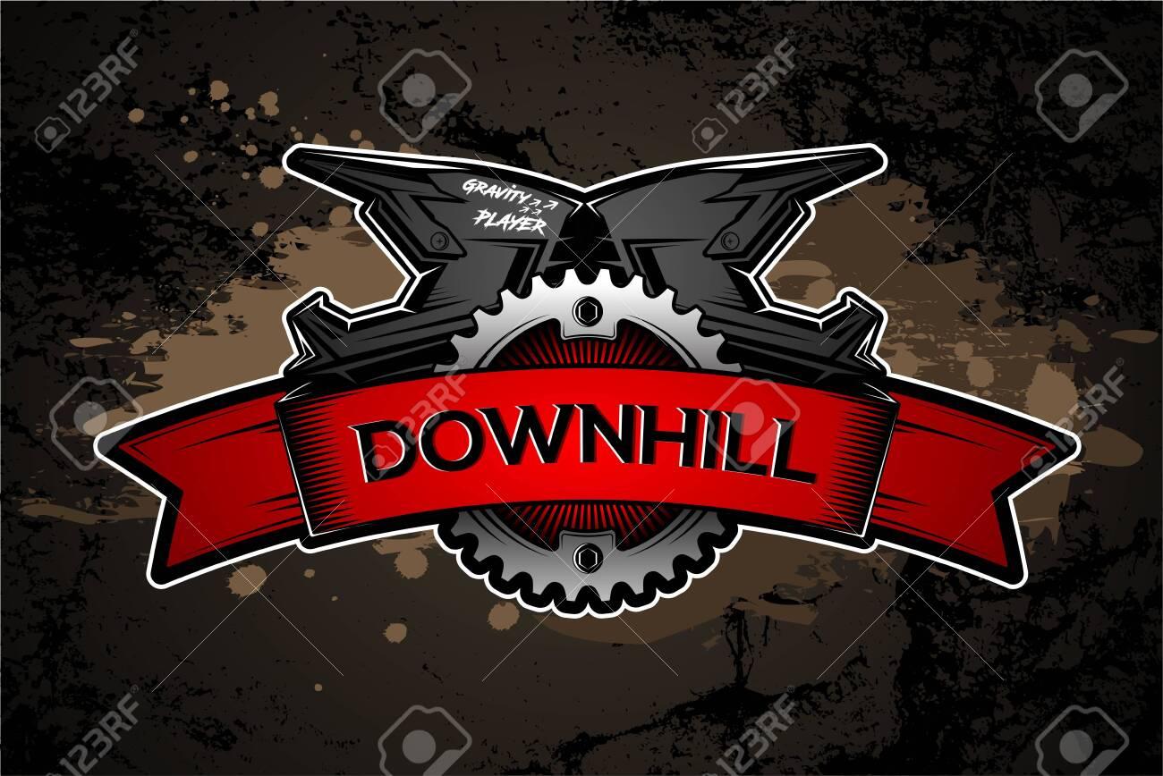 Downhill Motocros Label Design. Full Face Helmet. Mountain biking. Vector Ilustration. - 133535252