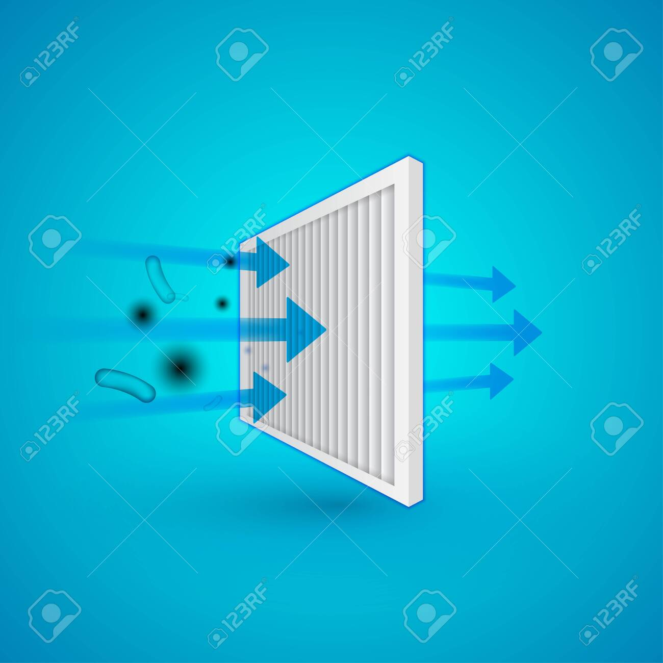 Air filter effect. Antibacterial, dust, solid particle filtration and ventilation technology example. - 142252435