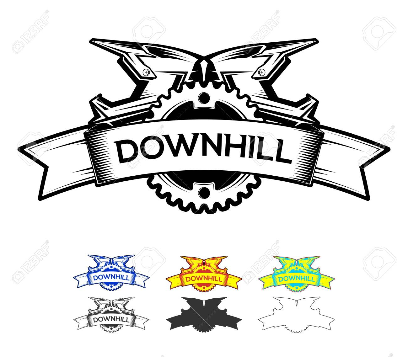 Downhill Motocros Label Design. Logo design with ribbon chain ring and full face helmets. Downhill, Freeride, Enduro, MTB. Vector Ilustration. - 143960268