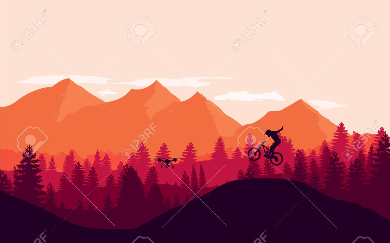 Mountain bike rider in wild mountain nature landscape background. - 142881472