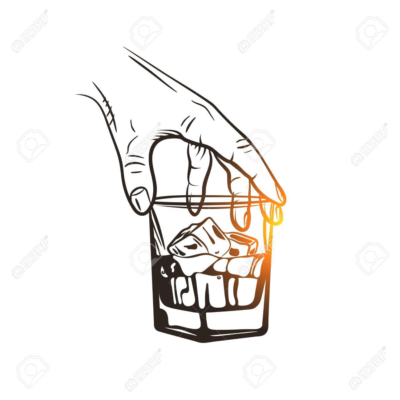 Hand holding a glass of whiskey with ice cubes. Whiskey glass. Hand drawn drink. - 152413349