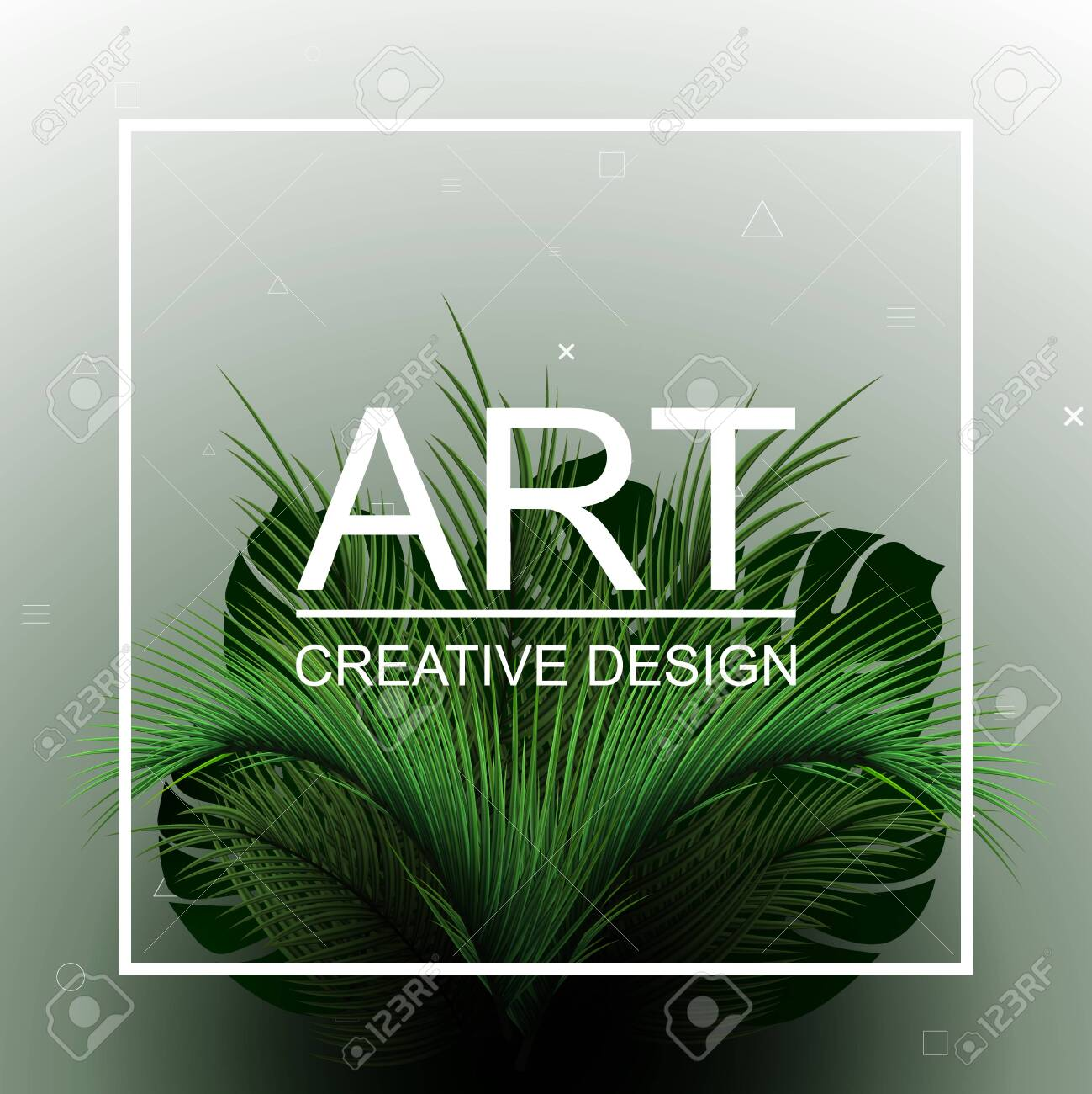 Abstract tropical bushes. Tropical vector design with green palm leaves. - 153567364