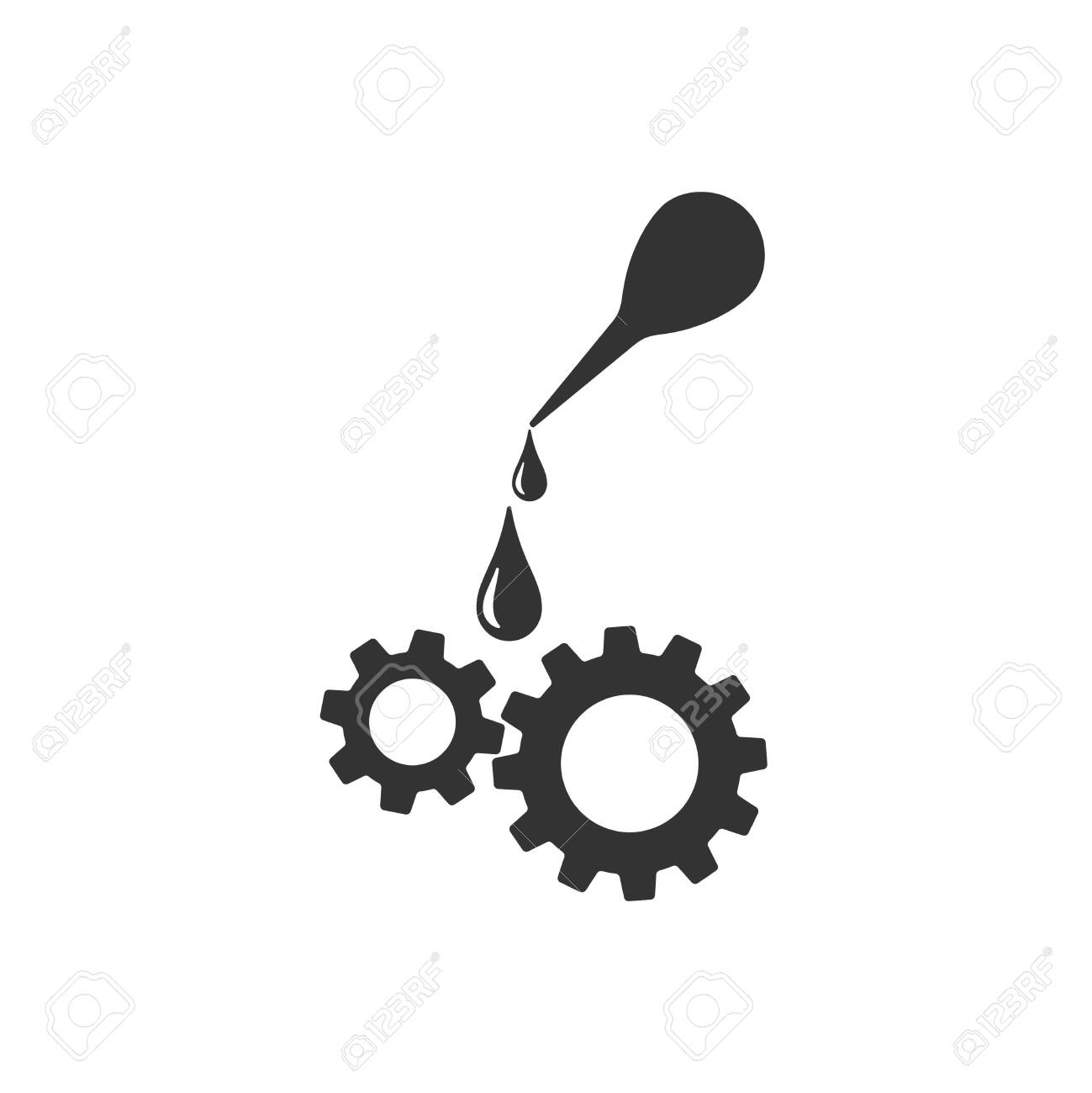 Oiler greasing. Gear Lubrication. Engine oil vector Icon. - 153353824