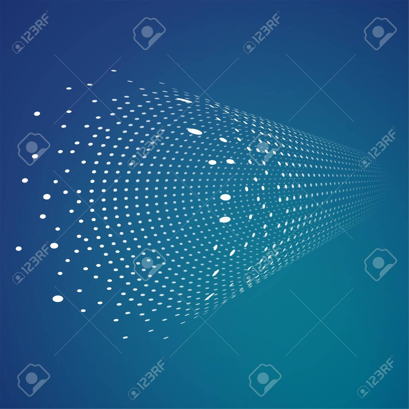 Dots forming cylinder. Abstract tunnel of small dots. Digital technology information concept. Big data. Data transfer. From chaos to order. - 153376026