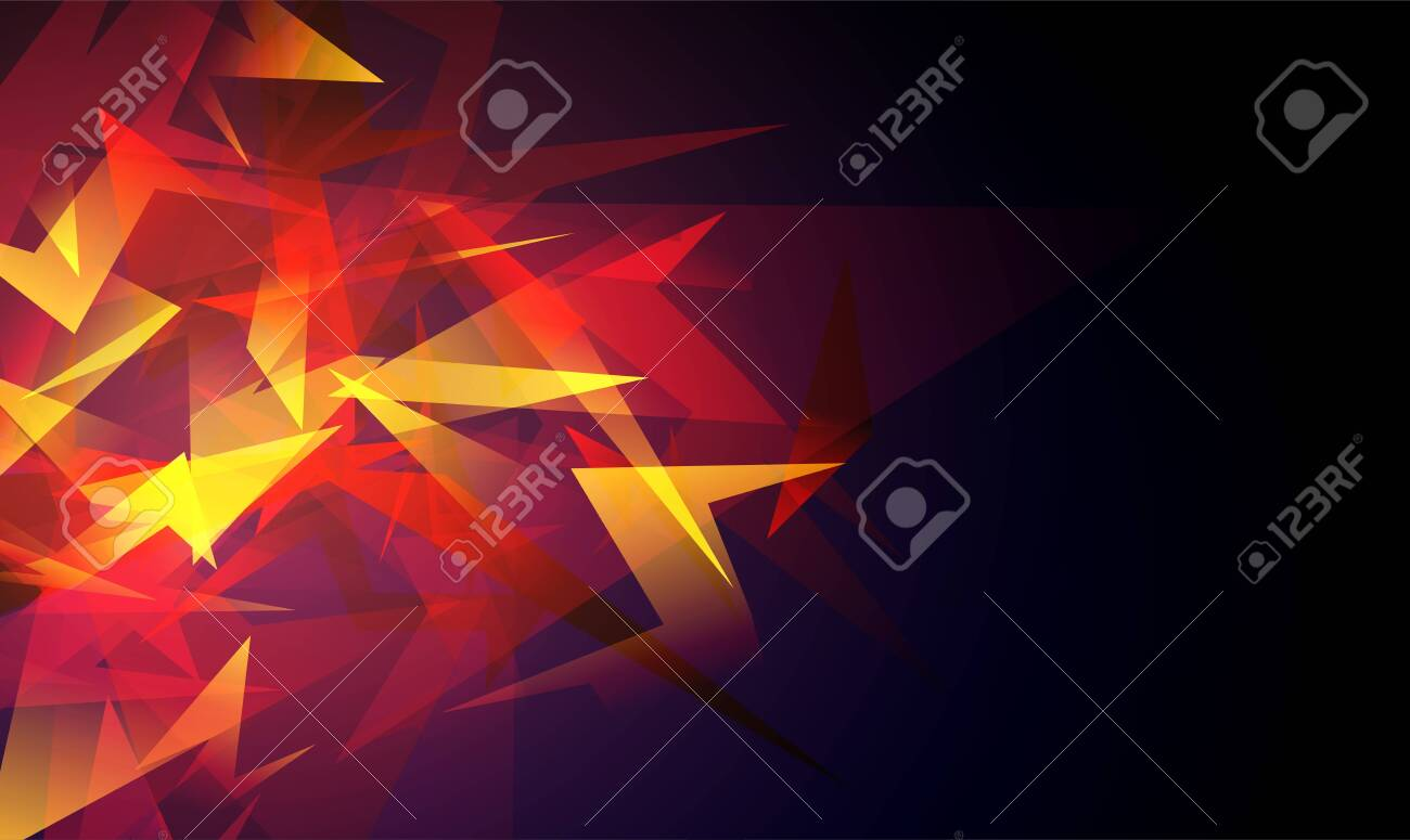 Red abstract shapes explosion. Shards of broken glass. Glowing dynamic background for sport, music or computer gaming. - 154025175