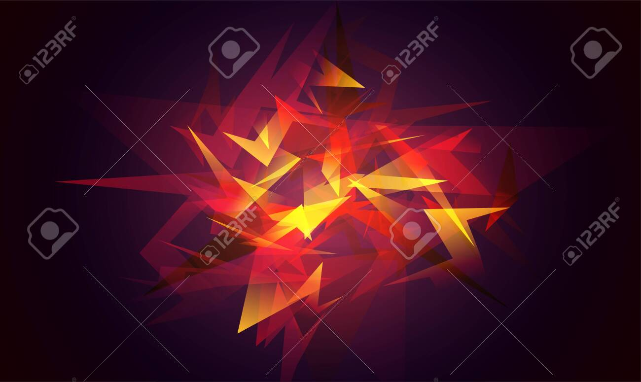 Shards of broken glass. Red abstract shapes explosion. Glowing dynamic background for sport, music or computer gaming. - 154034909