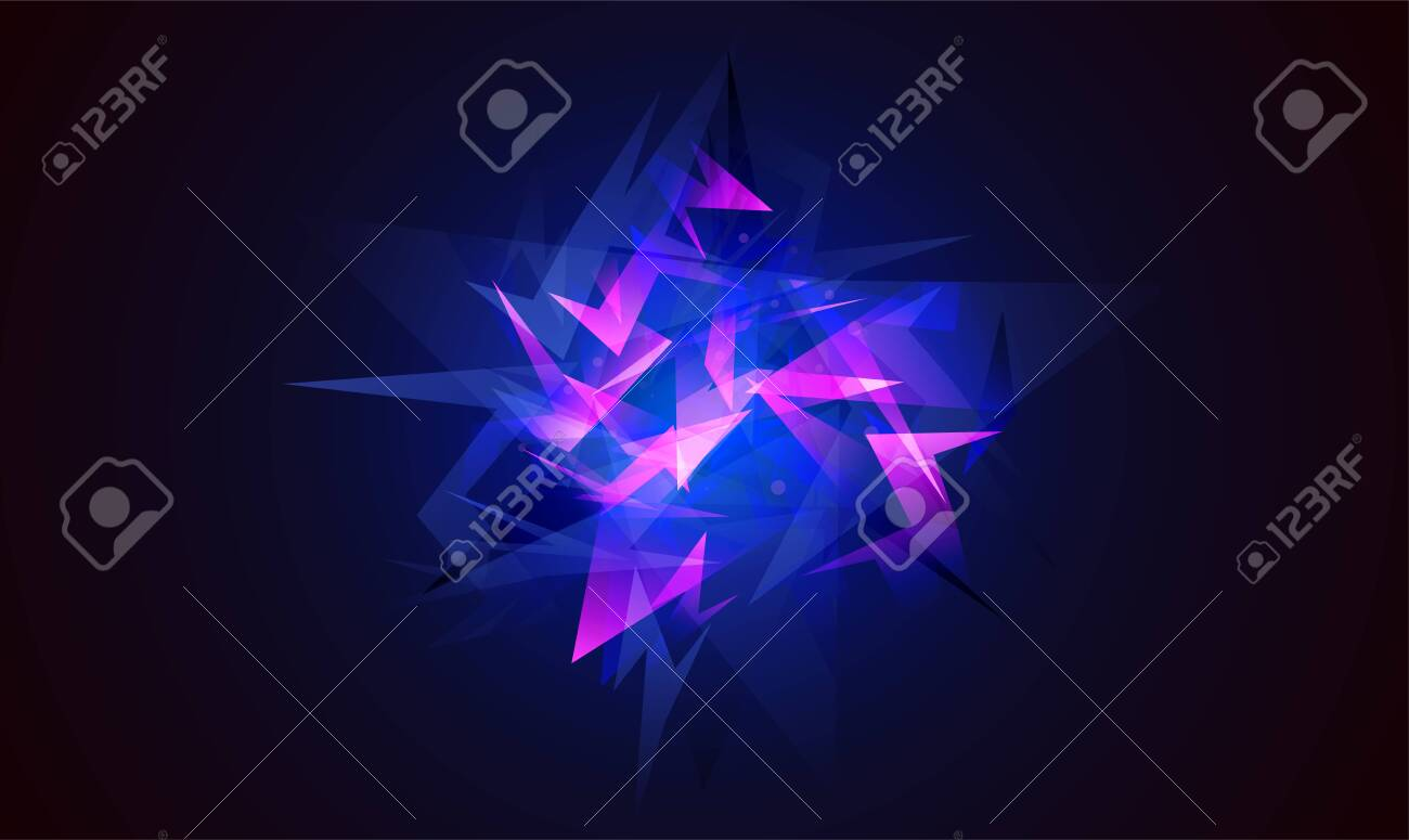 Vector abstract shapes explosion. Shards of broken glass. Glowing dynamic background for sport, music or computer gaming. - 154034342