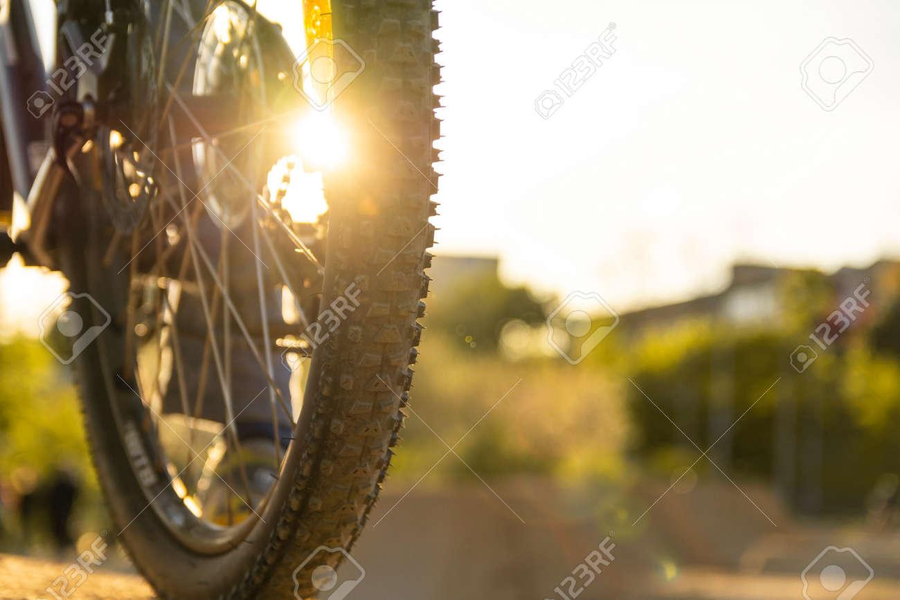 Back shot of mountain bike rear wheel. Bicycle wheels close up image on sunset. - 154885616